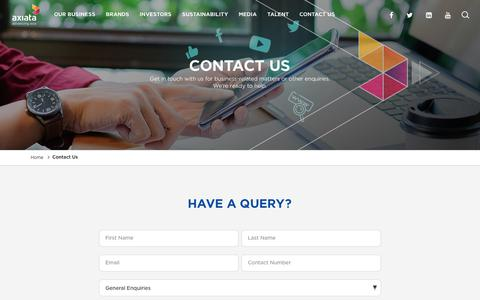Screenshot of Contact Page axiata.com - Contact Us | Axiata - captured July 22, 2019