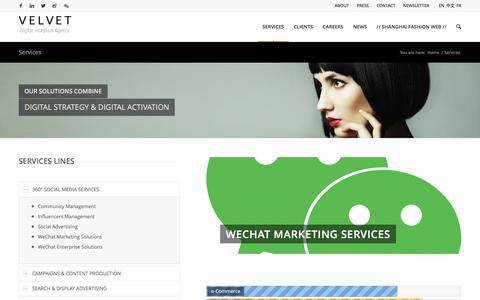 Screenshot of Services Page velvetgroup.com - Services - VELVET - captured Dec. 10, 2016