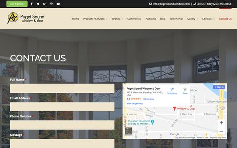 Screenshot of Contact Page pugetsoundwindow.com - Contact Us | Puget Sound Window & Door | Puyallup, WA - captured Sept. 29, 2018