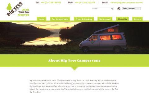 Screenshot of About Page bigtreecampervans.com - About Big Tree Campervans -Campervan Hire in Scotland - captured Feb. 7, 2016