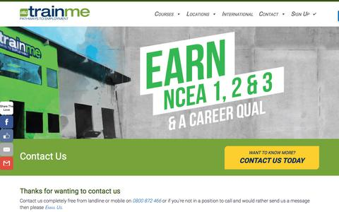 Screenshot of Contact Page trainme.org.nz - Contact TrainMe today about Free Youth and Pathway Courses to gain NCEA - captured Feb. 11, 2018