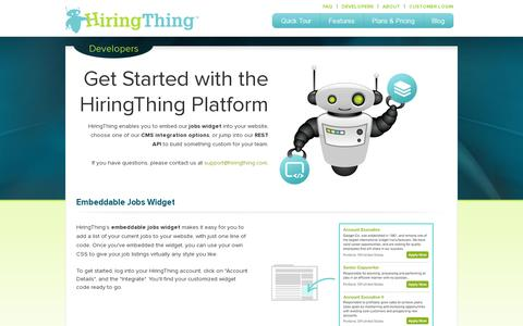 Screenshot of Developers Page hiringthing.com - Developers - captured July 18, 2014