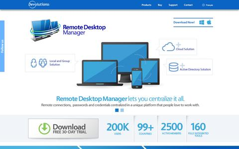 Screenshot of Home Page Products Page devolutions.net - Devolutions - Remote connection and password management solutions - captured Sept. 24, 2014