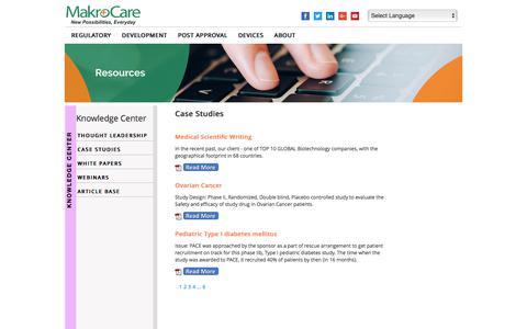 Screenshot of Case Studies Page makrocare.com - CASE STUDIES - captured July 27, 2018