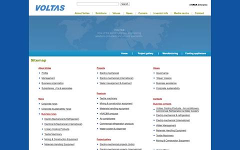 Screenshot of Site Map Page voltas.com - .:: Visit here for Voltas' site terms & conditions of text/trademark ownership and usage, printing of information, site content reproduction .:: - captured Sept. 24, 2014