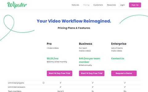 Screenshot of Pricing Page wipster.io - (2) New Messages! - captured Feb. 16, 2019