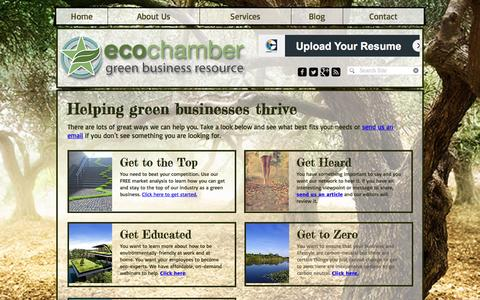 Screenshot of Services Page ecochamber.com - EcoChamber Services - captured May 14, 2017