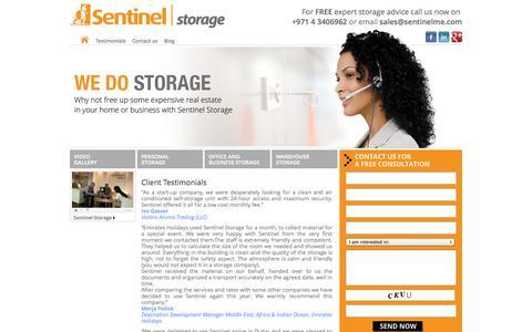 Screenshot of Testimonials Page sentinelme.com - Client Testimonials - Sentinel Storage - captured Oct. 3, 2014