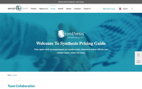 Screenshot of Pricing Page asergiscloud.com - Pricing for Synthesis All in One Business Serivices - captured Oct. 24, 2018