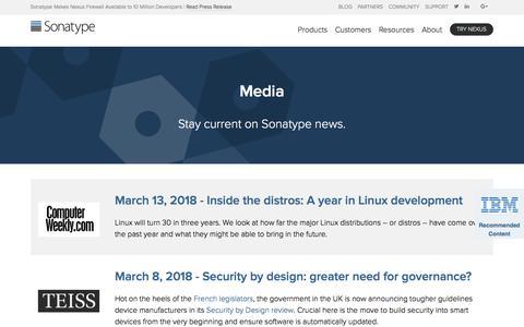 Screenshot of Press Page sonatype.com - Media   Sonatype - captured March 19, 2018