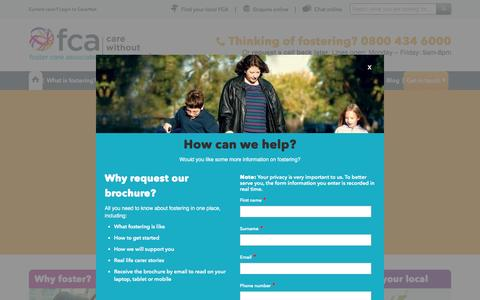 Screenshot of Home Page thefca.co.uk - Fostering Children | Foster Care Associates - captured Jan. 20, 2016