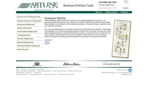 Screenshot of Support Page artlinegreetings.com - Corporate Holiday Cards & Greeting Cards - Artline Greetings - captured July 30, 2018
