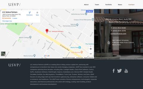 Screenshot of Contact Page usvp.com - Contact - USVP/ - captured Sept. 23, 2018