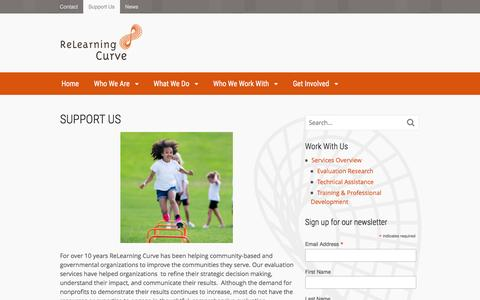 Screenshot of Support Page relearningcurve.org - Support Us | ReLearning Curve - captured Aug. 13, 2016