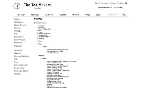 Screenshot of Site Map Page theteamakers.co.uk - Site Map - theteamakers.co.uk - captured Sept. 30, 2014