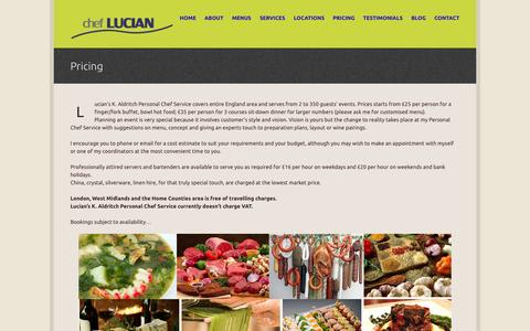 Screenshot of Pricing Page cheflucian.com - Pricing - Chef Lucian- Personal Chef in London - captured Oct. 2, 2014