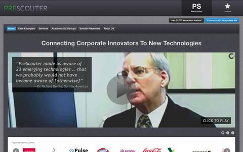 Screenshot of Home Page prescouter.com - Technology Scouting & Open Innovation   PreScouter - captured Oct. 2, 2014