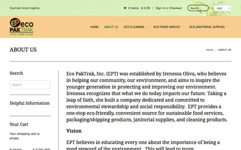 Screenshot of About Page ecopaktrak.com - ABOUT US | Eco Paktrak, Inc. - captured July 14, 2017