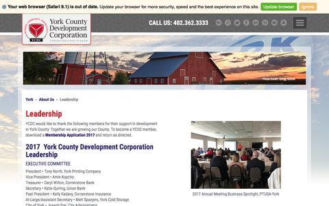 Screenshot of Team Page yorkdevco.com - York County Development Corporation Leadership - captured Oct. 5, 2017