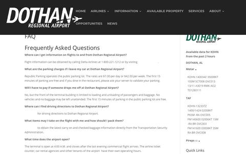 Screenshot of FAQ Page flydothan.com - FAQ - Fly Dothan - captured Nov. 14, 2018