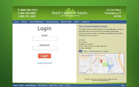 Screenshot of Login Page doylesmedicalsupply.com captured Nov. 24, 2016