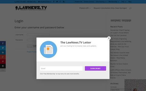 Screenshot of Login Page lawnews.tv - Login • LawNews.TV (Protective Law Corporation) - captured Feb. 2, 2016