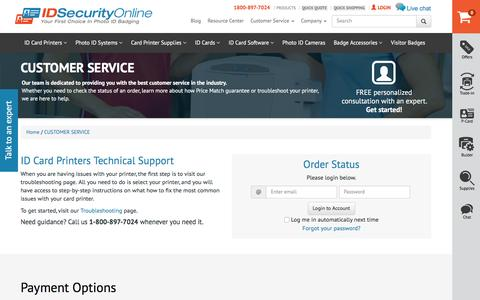 Screenshot of Privacy Page Support Page idsecurityonline.com - CUSTOMER SERVICE | IDSecurityOnline - captured Sept. 21, 2016