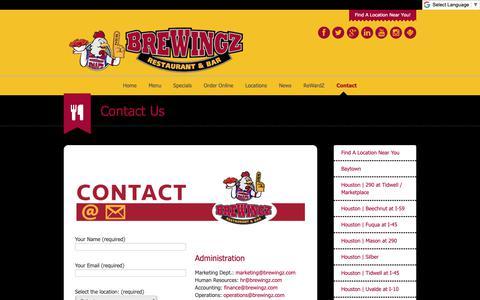 Screenshot of Contact Page brewingz.com - Contact | BreWingZ Sports Bar & GrillBreWingZ Restaurant & Grill - captured Dec. 19, 2018