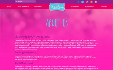 Screenshot of About Page fairytaleprincessevents.com - Imagination and Fun with Fairytale Princess Events-About Us - captured Aug. 5, 2016