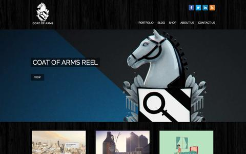 Screenshot of Home Page coatofarmspost.com - Coat of Arms | Post Production Services - captured Oct. 3, 2014