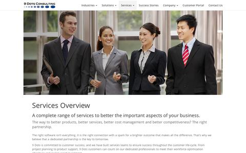 Screenshot of Services Page 9dots.com - 9 Dots Consulting Group - Services - captured Feb. 16, 2016