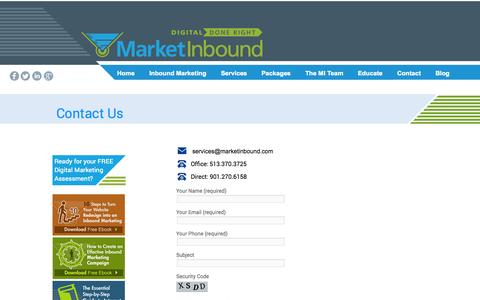 Screenshot of Contact Page marketinbound.com - Market Inbound - captured Oct. 3, 2014
