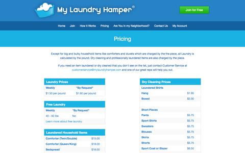 Screenshot of Pricing Page mylaundryhamper.com - My Laundry Hamper — Laundry and Dry Cleaning Pickup and Delivery with a Personal Touch! - captured Oct. 7, 2014