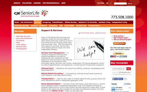 Screenshot of Services Page cje.net - Support and Services | CJE SeniorLife - captured Oct. 1, 2014