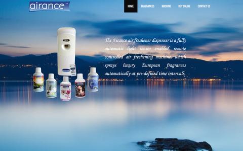 Screenshot of Home Page airance.com - Airance | Automatic Room Perfume Air Freshener Dispenser | Aerosol | Refill - captured Sept. 30, 2014