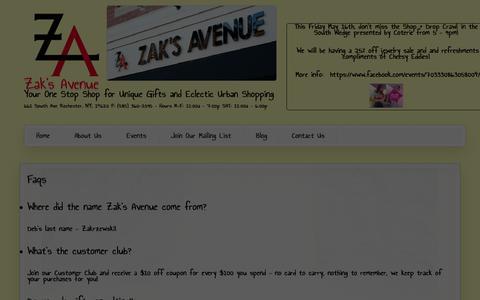 Screenshot of FAQ Page zaksavenue.com - Faqs | Zak's Avenue - captured Oct. 27, 2014