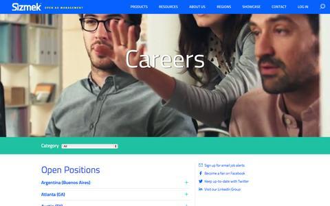 Screenshot of Jobs Page sizmek.com - Careers - captured July 3, 2015