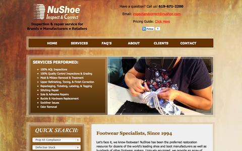 Screenshot of Services Page nushoeinspectandcorrect.com - Nushoe provides inspection and correction services for the shoe and boot industry - captured Oct. 10, 2014