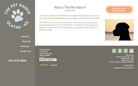 Screenshot of About Page petranchkc.com - About | The Pet Ranch in Olathe, KS - captured July 14, 2017