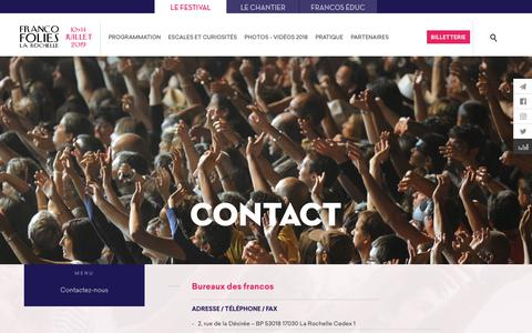 Screenshot of Contact Page francofolies.fr - Contact - Francofolies - captured Sept. 22, 2018