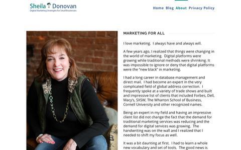 Screenshot of About Page sheiladonovan.com - About - Sheila Donovan Marketing - captured July 19, 2018