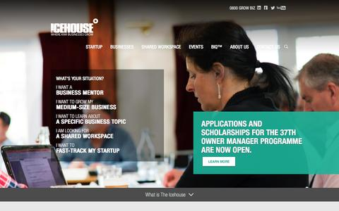 Screenshot of Home Page theicehouse.co.nz - The Icehouse | Business Mentoring, Startups &  Entrepreneurship - captured Jan. 15, 2016