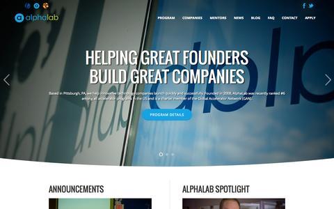 Screenshot of Home Page alphalab.org - AlphaLab — Pittsburgh's Startup Accelerator - captured Jan. 26, 2015