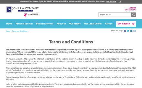 Screenshot of Terms Page qualitysolicitors.com - Terms and Conditions - QualitySolicitors Johars - captured Nov. 14, 2018