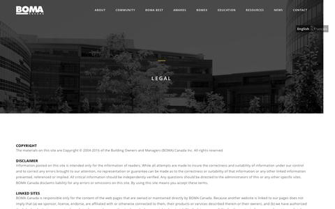 Screenshot of Terms Page bomacanada.ca - Legal – BOMA Canada - captured Jan. 11, 2017