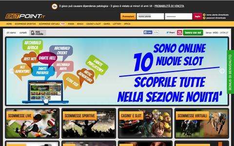 Screenshot of Home Page betpoint.it - Scommesse sportive, Bingo, Poker, Casinò, Burraco, Scopa - Betpoint - captured Sept. 22, 2014