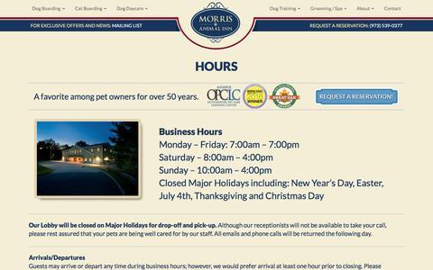 Screenshot of Hours Page morrisanimalinn.com - Hours - Morris Animal Inn - captured June 13, 2017