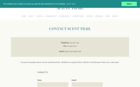 Screenshot of Contact Page scent-trail.co.uk - Contact Scent Trail - captured July 27, 2018