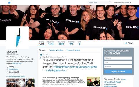 Screenshot of Twitter Page twitter.com - BlueChilli (@BlueChilliGroup) | Twitter - captured Nov. 2, 2014