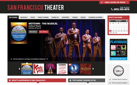 Screenshot of Home Page san-francisco-theater.com - San Francisco Theater: Broadway shows, Musicals, Plays, Concerts and Theaters in San Francisco, CA for 2014/15 - captured Sept. 23, 2014